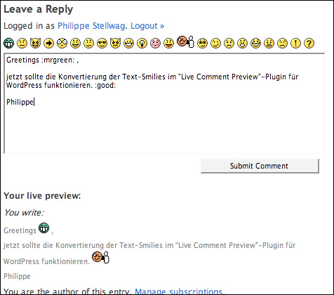 Smiley-MOD für das WP-Plugin 'Live Comment Preview'