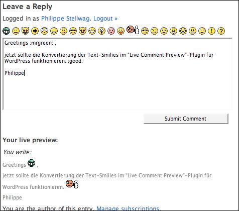 Smiley-MOD für das WP-Plugin 'Live Comment Preview'